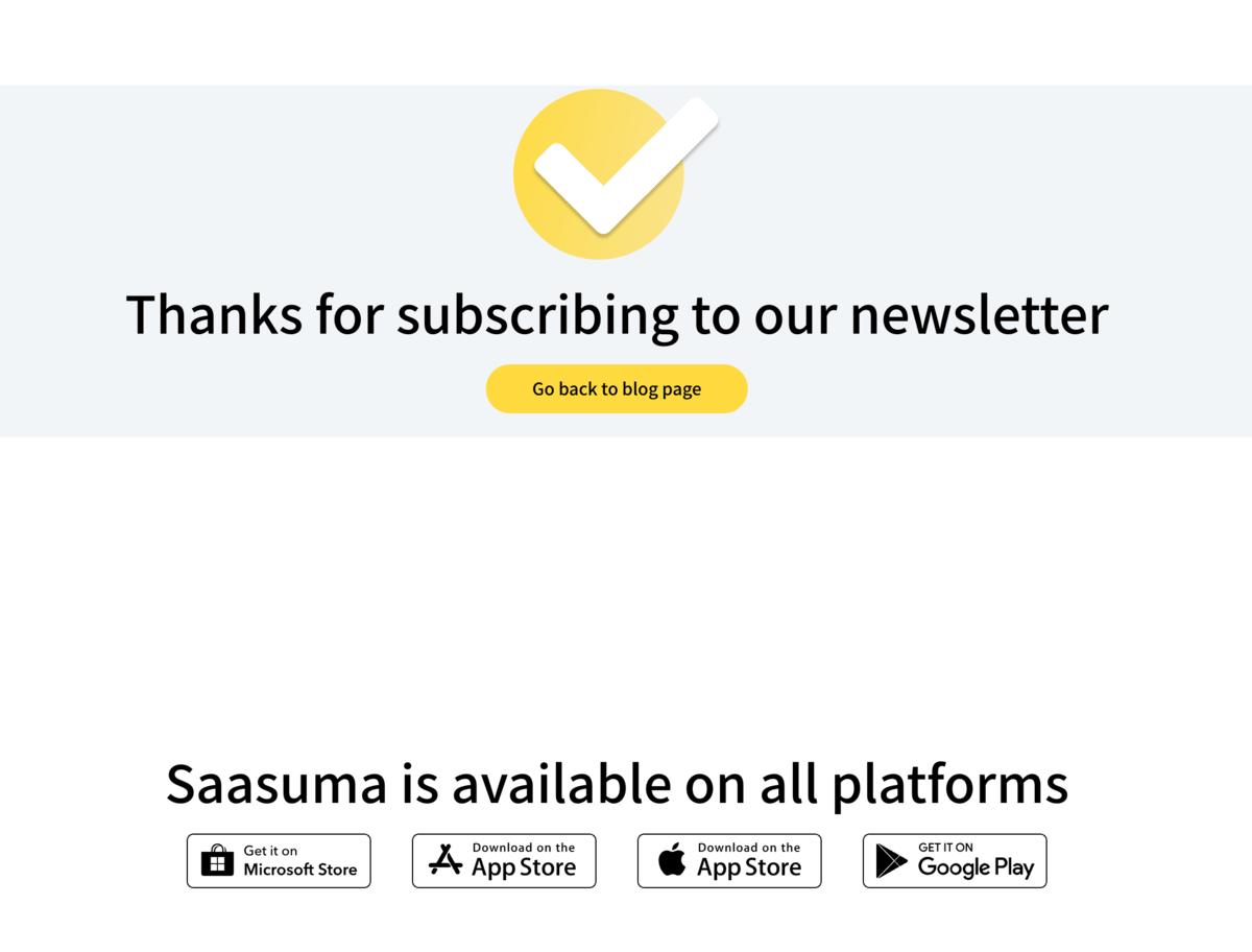 "Saasuma ""Thanks For Subscribing"" Page"