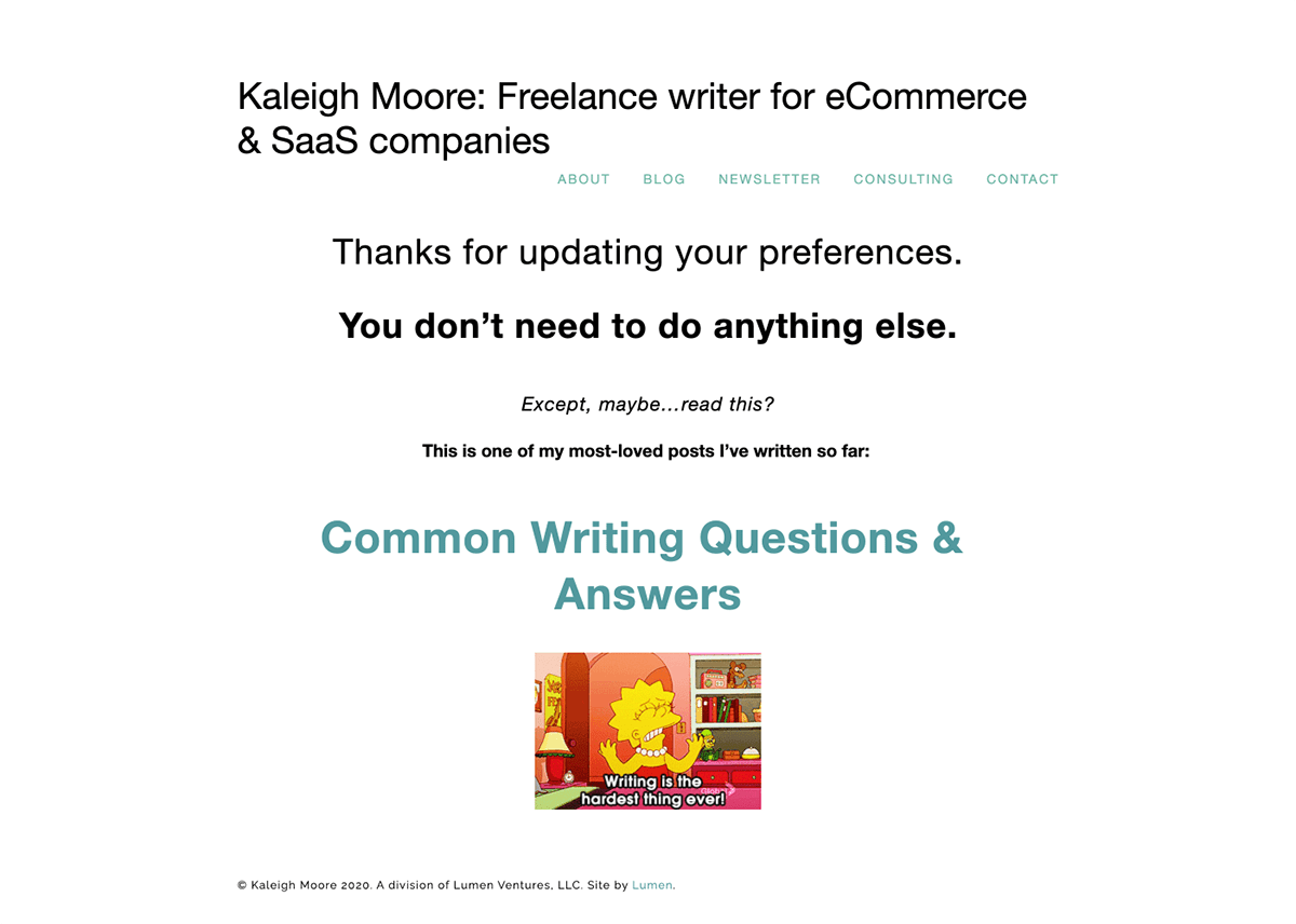 Kaleigh Moore Thank You Page