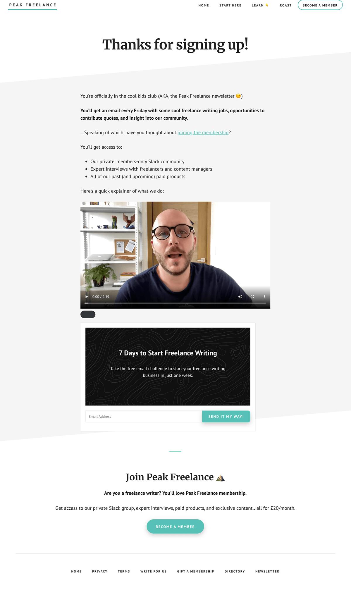 Peak Freelance Thank You Page Upsell
