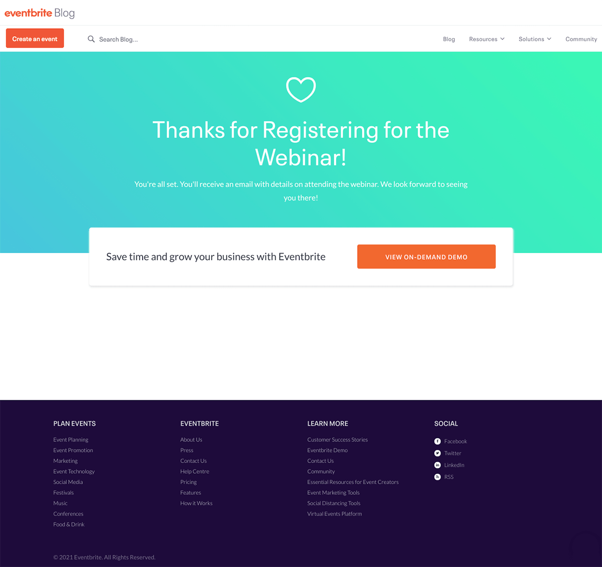 """Eventbrite """"Thanks For Registering"""" Page"""