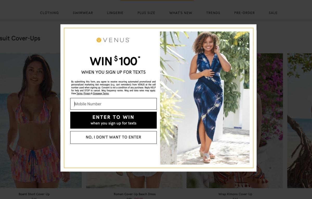 Venus Contest SMS Popup