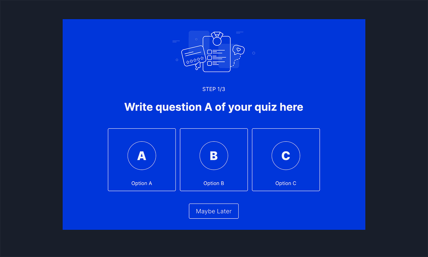 A/B/C Outcome Quiz Popup Template