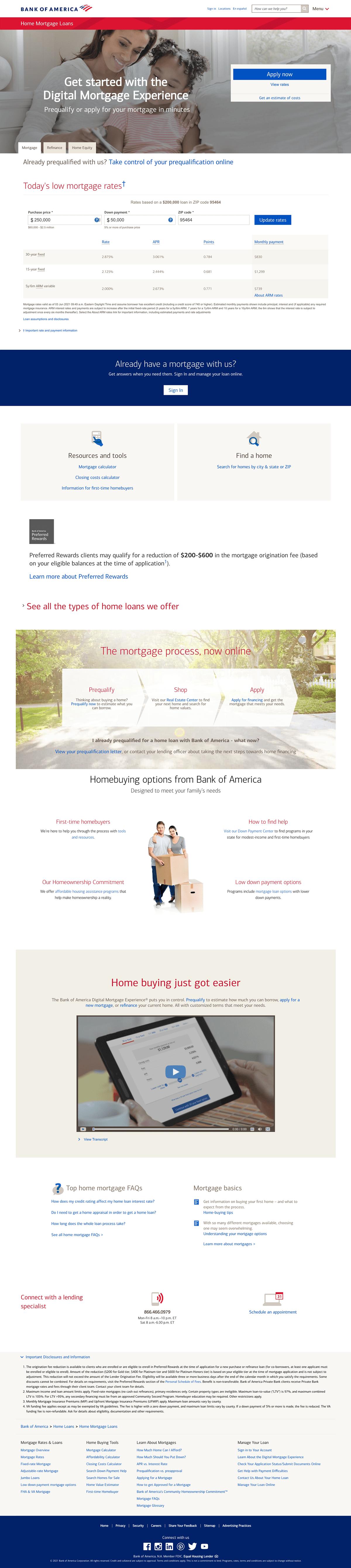 Bank of America Mortgage Landing Page