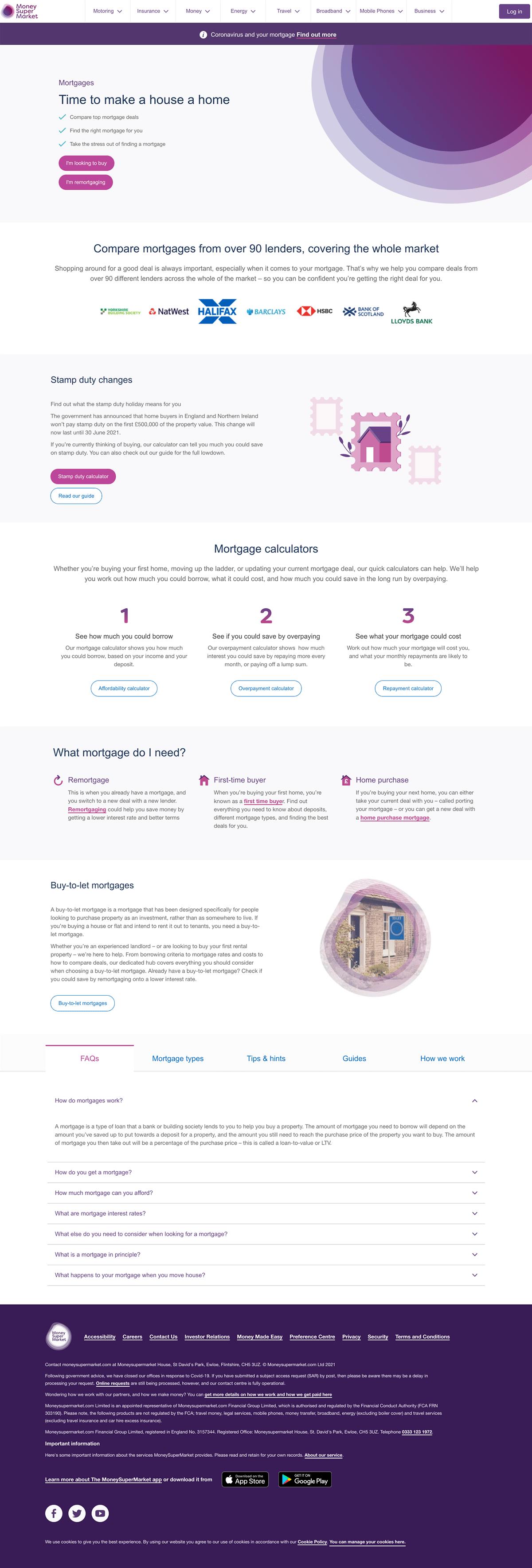 MoneySuperMarket Mortgage Comparison Page