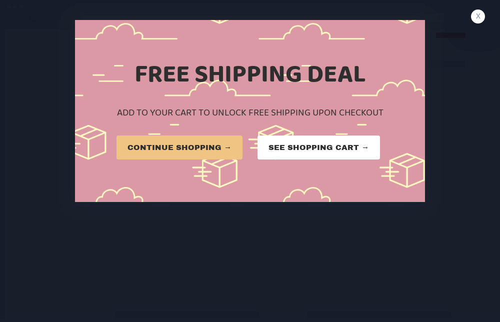 Peach Free Shipping Popup Template