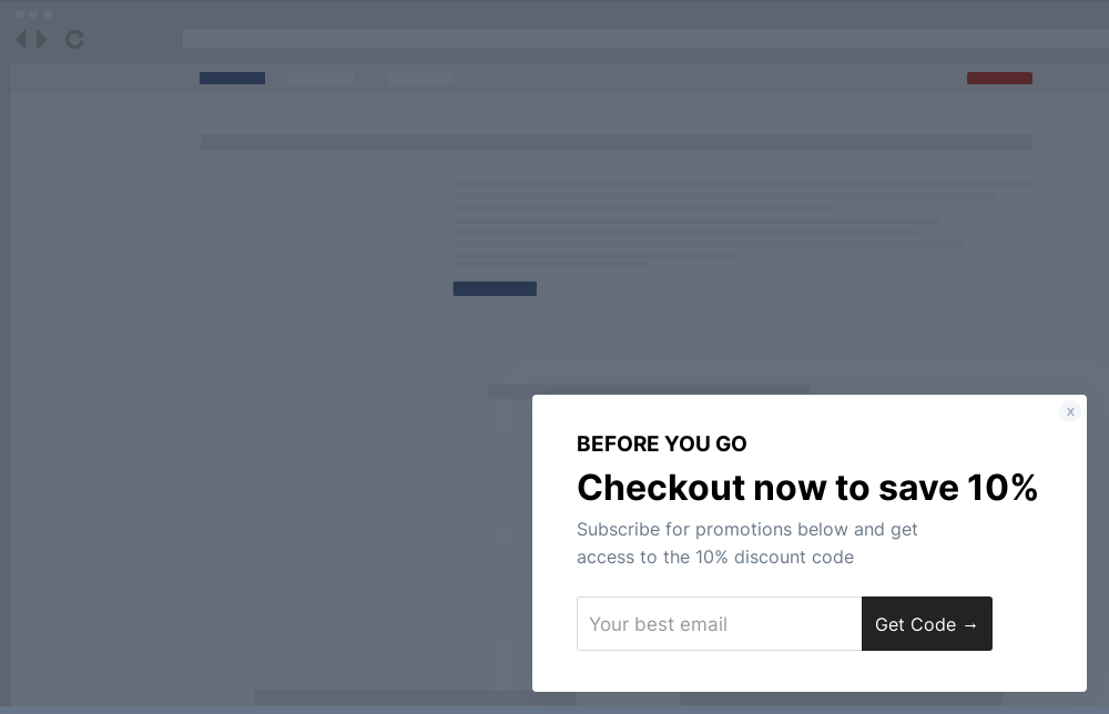 Simple Cart Abandonment Site Message Template