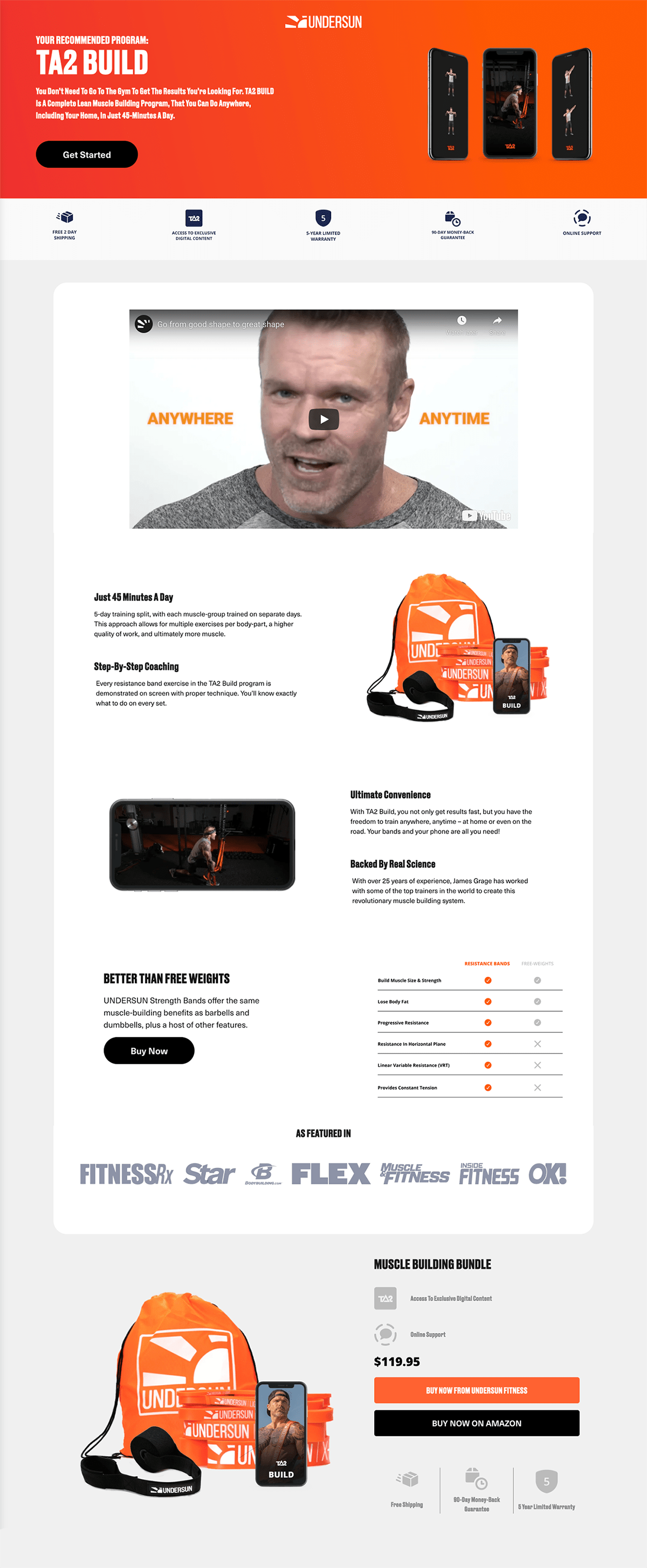 Undersun Fitness Product Landing Page