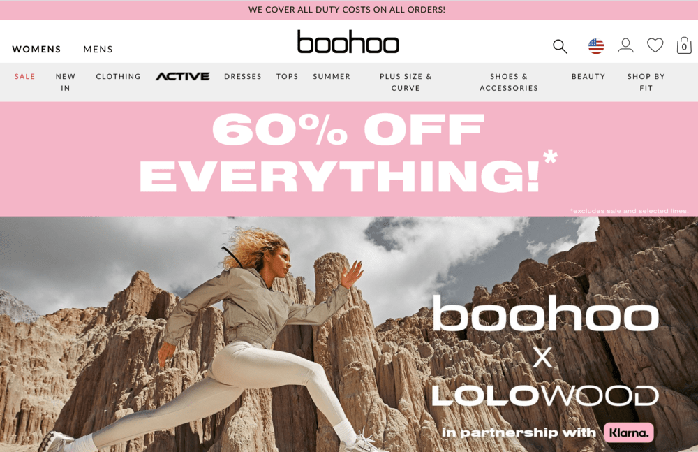 Boohoo Free Shipping Bar