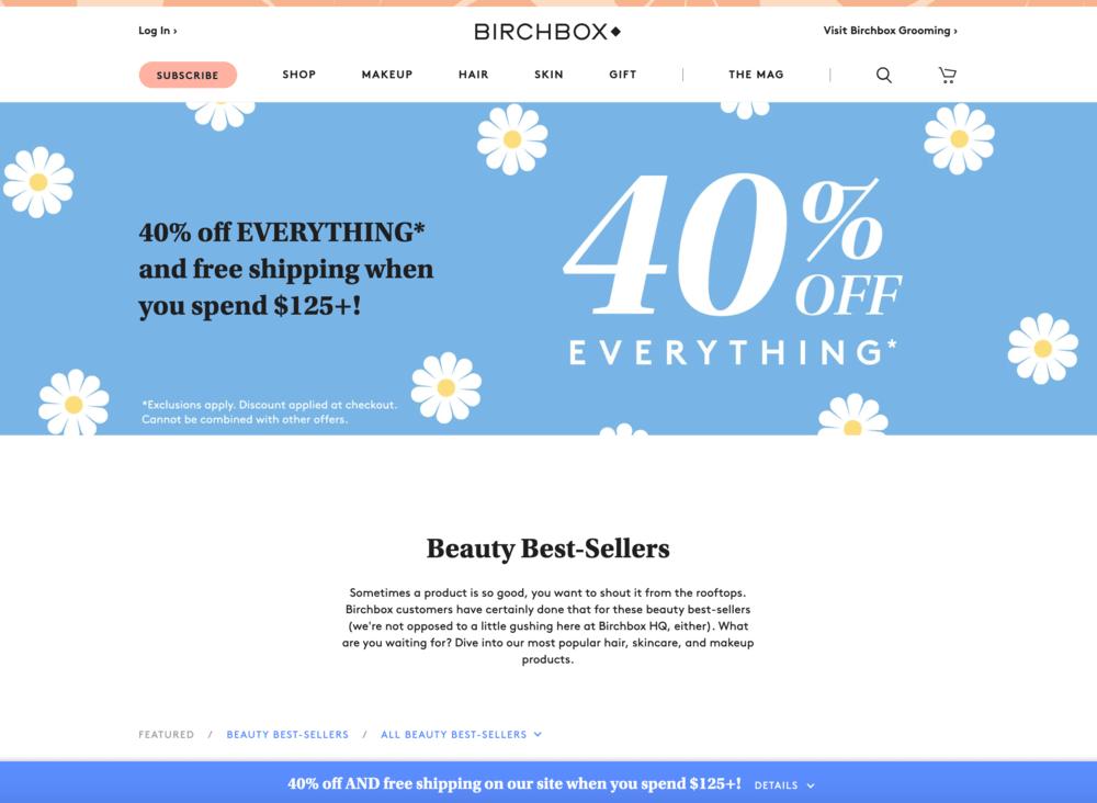 Birchbox Free Shipping Bar