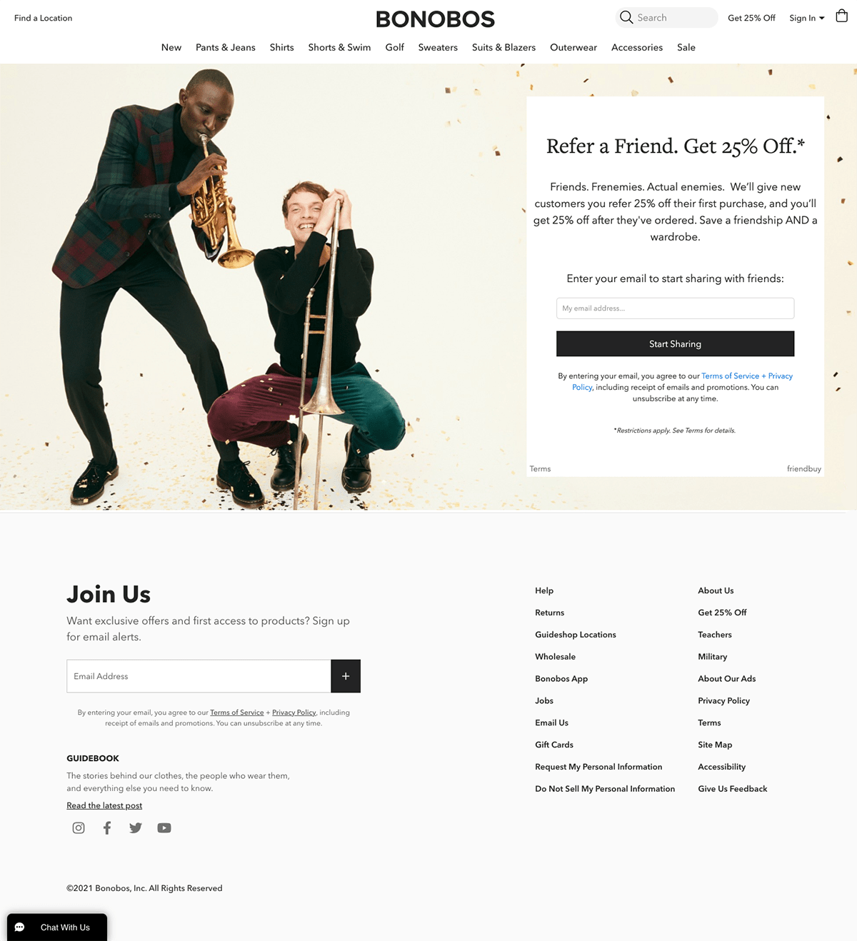 Bonobos Referral Opt-in Page