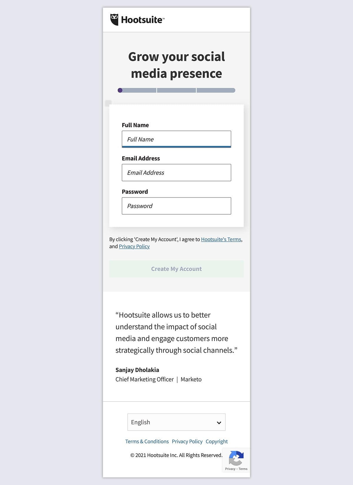 Hootsuite Mobile Landing Page Example