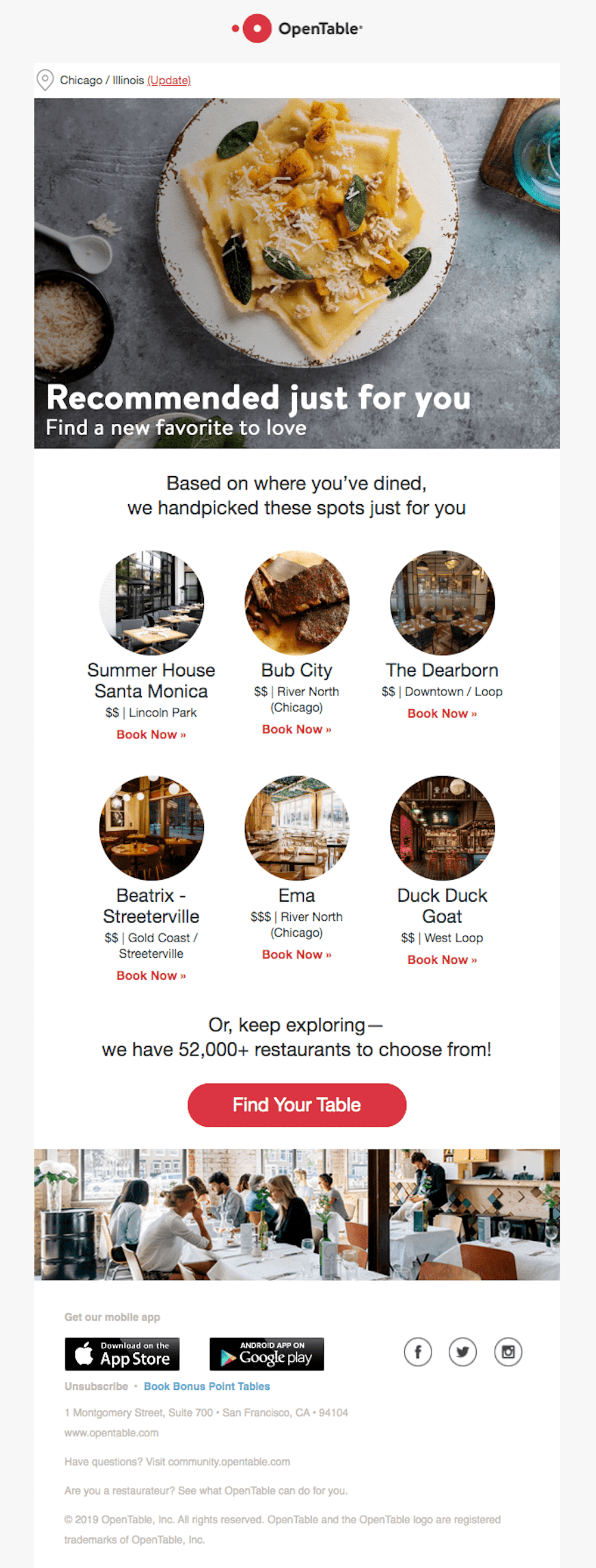OpenTable Cross-Sell Email Example