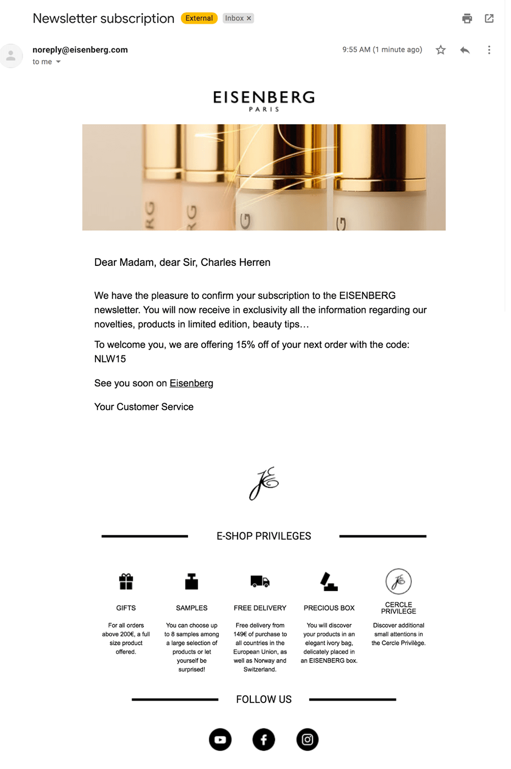 Eisenberg welcome email
