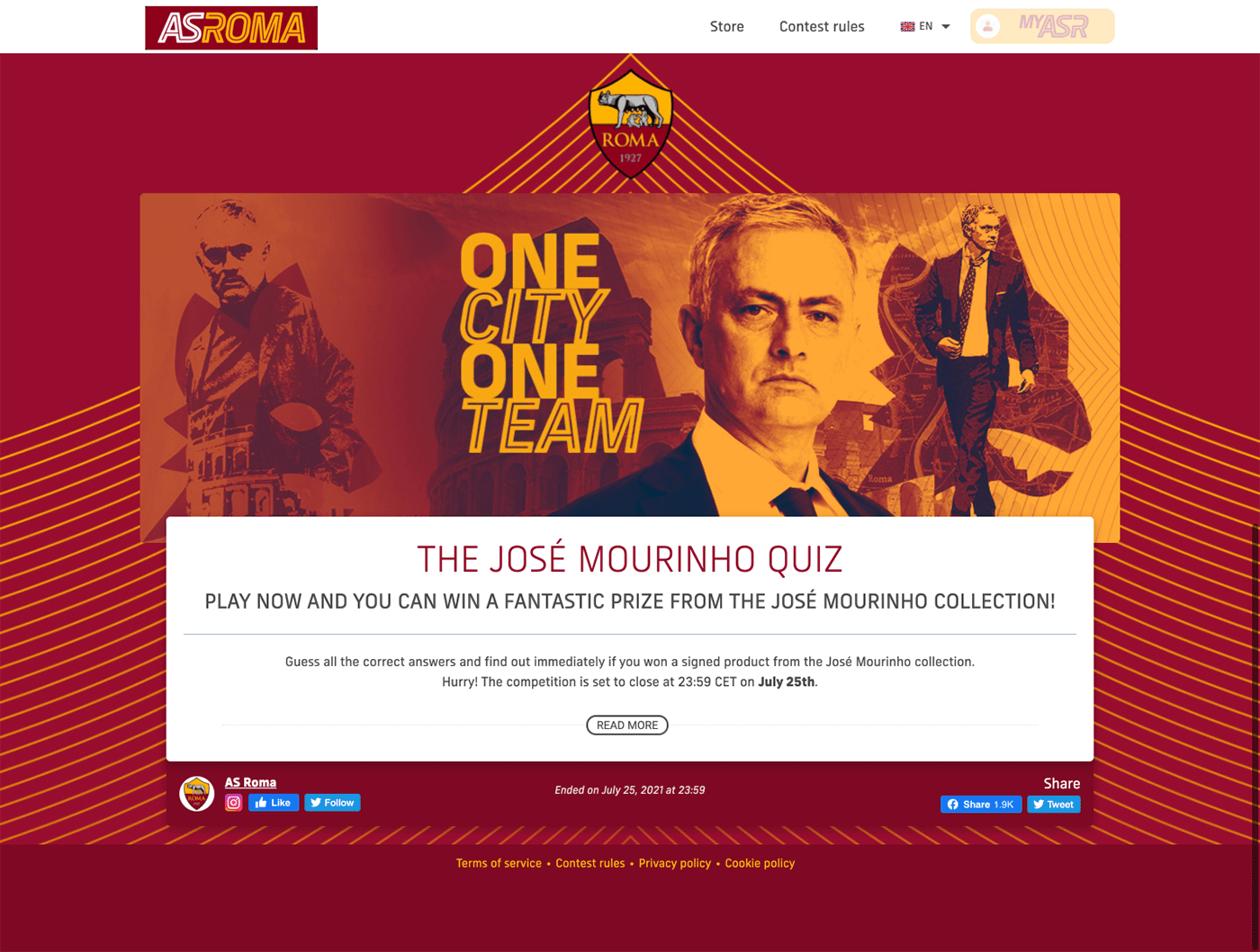AS Roma Contest Landing Page Example