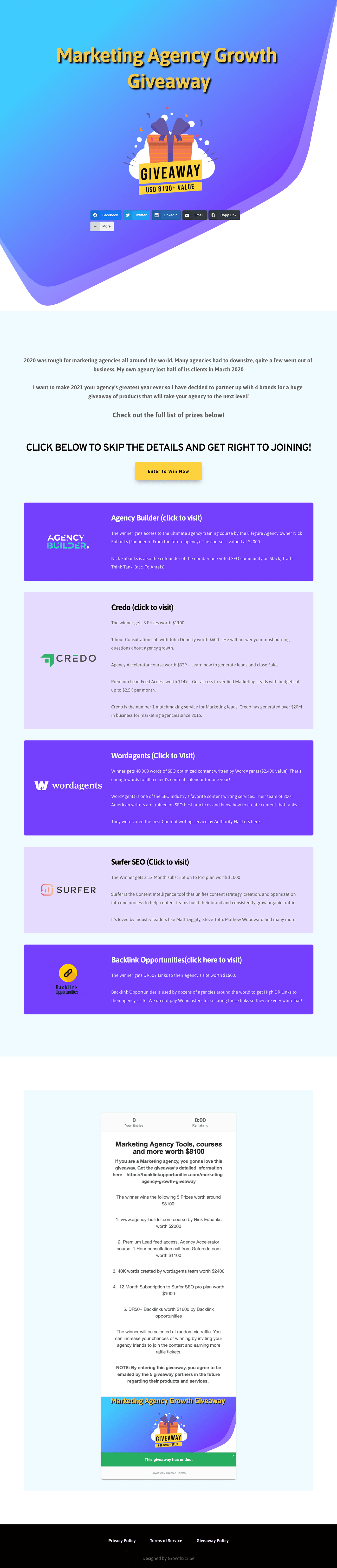 Marketing Agency Growth Giveaway Page Example