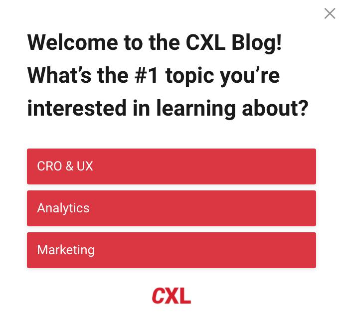 CXL survey example