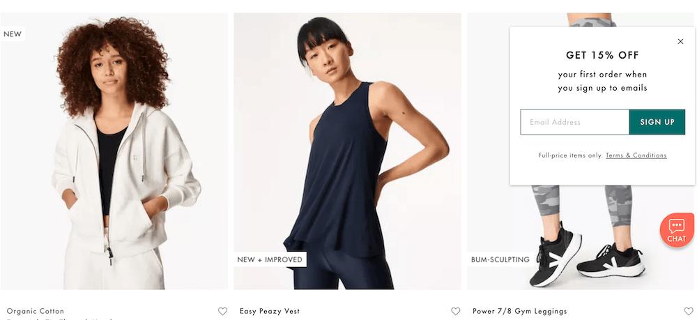 Sweaty Betty discount popup