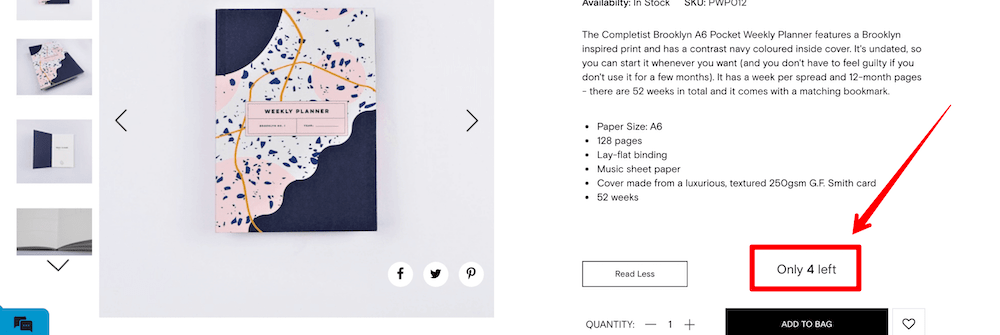 The Journal Shop scarcity FOMO example