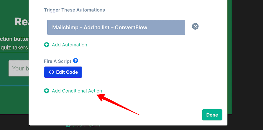 Add conditional action