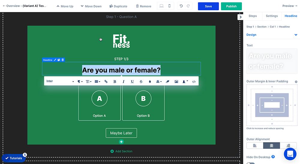 Change quiz question text