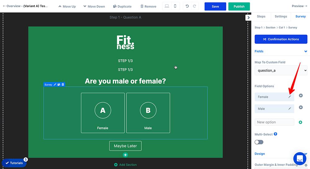 Edit quiz answer options