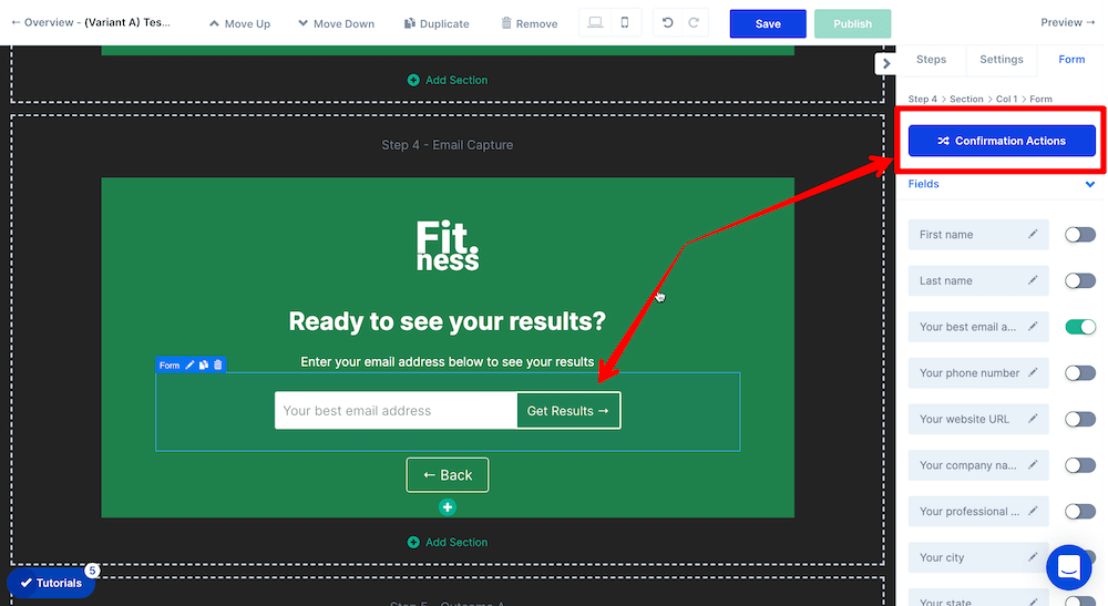 Email capture form confirmation actions