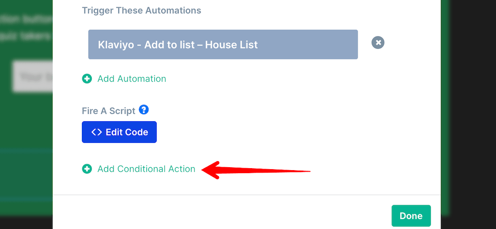 Add conditional action button