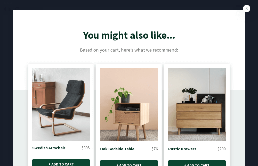 Furniture Product Recommendation Popup Template