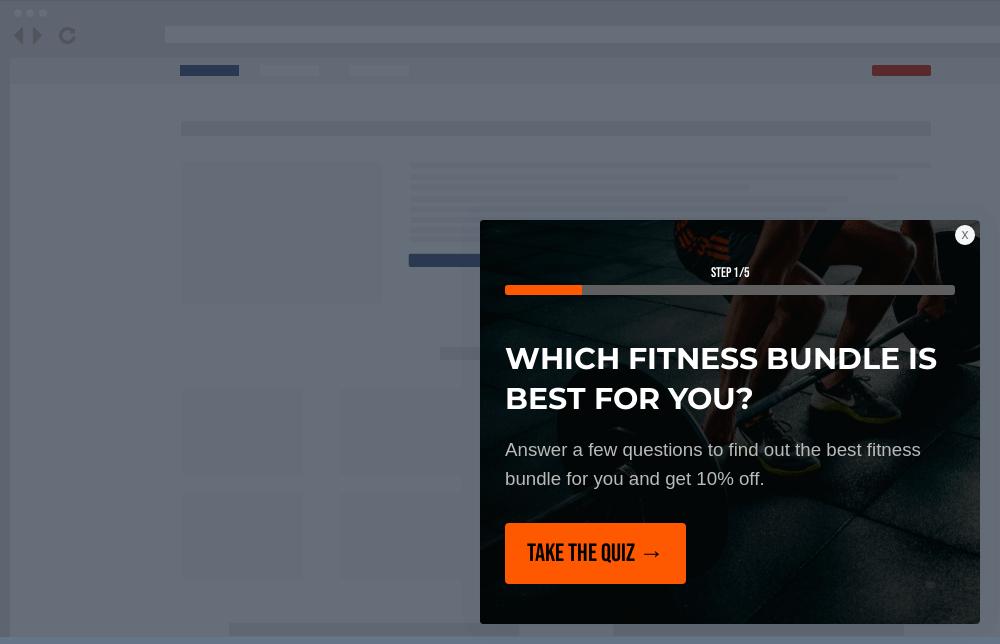 Fitness Shop Quiz Site Message Template