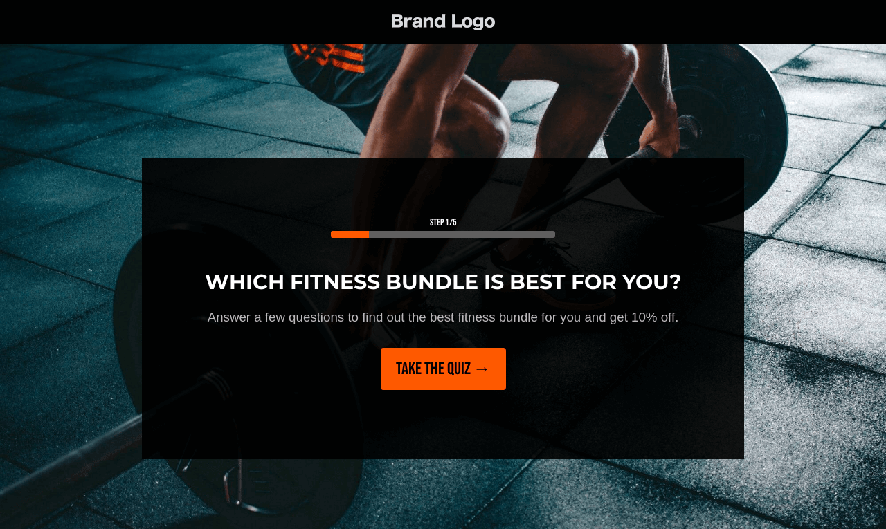 Fitness Shop Quiz Landing Page Template
