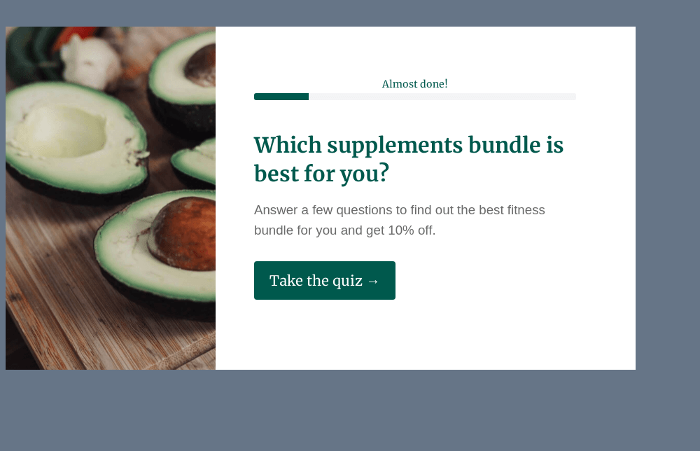 Health Product Recommendation Quiz Template