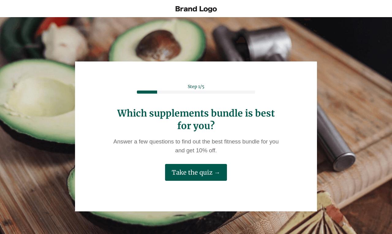 Health & Wellness Shop Quiz Landing Page Template