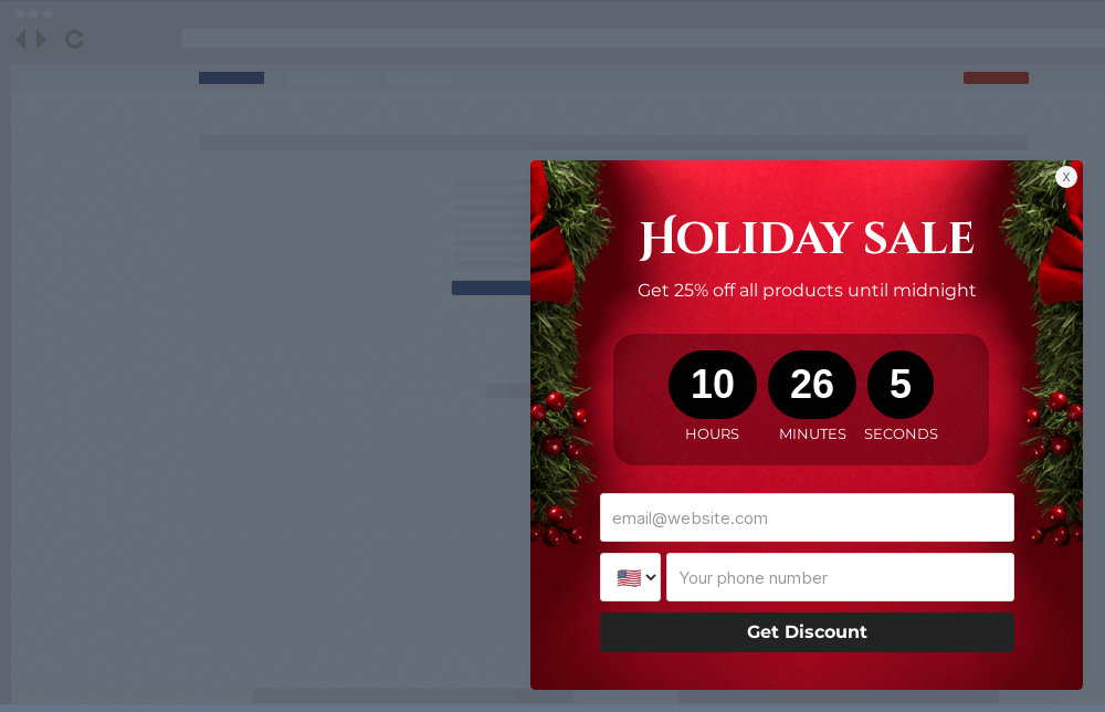 Holiday Sale Site Message Template