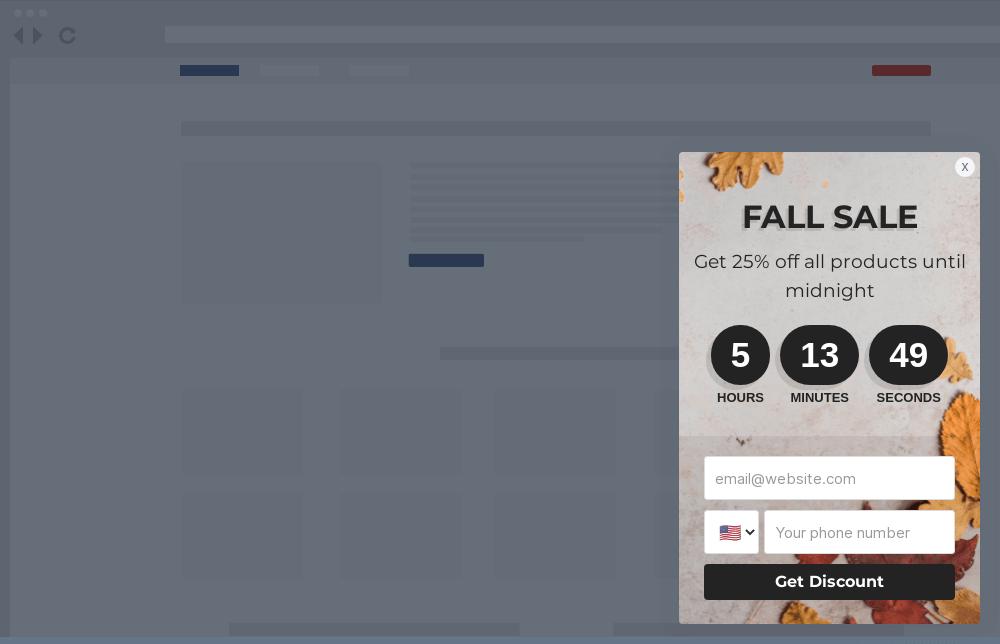 Fall Season Sale Site Message Template