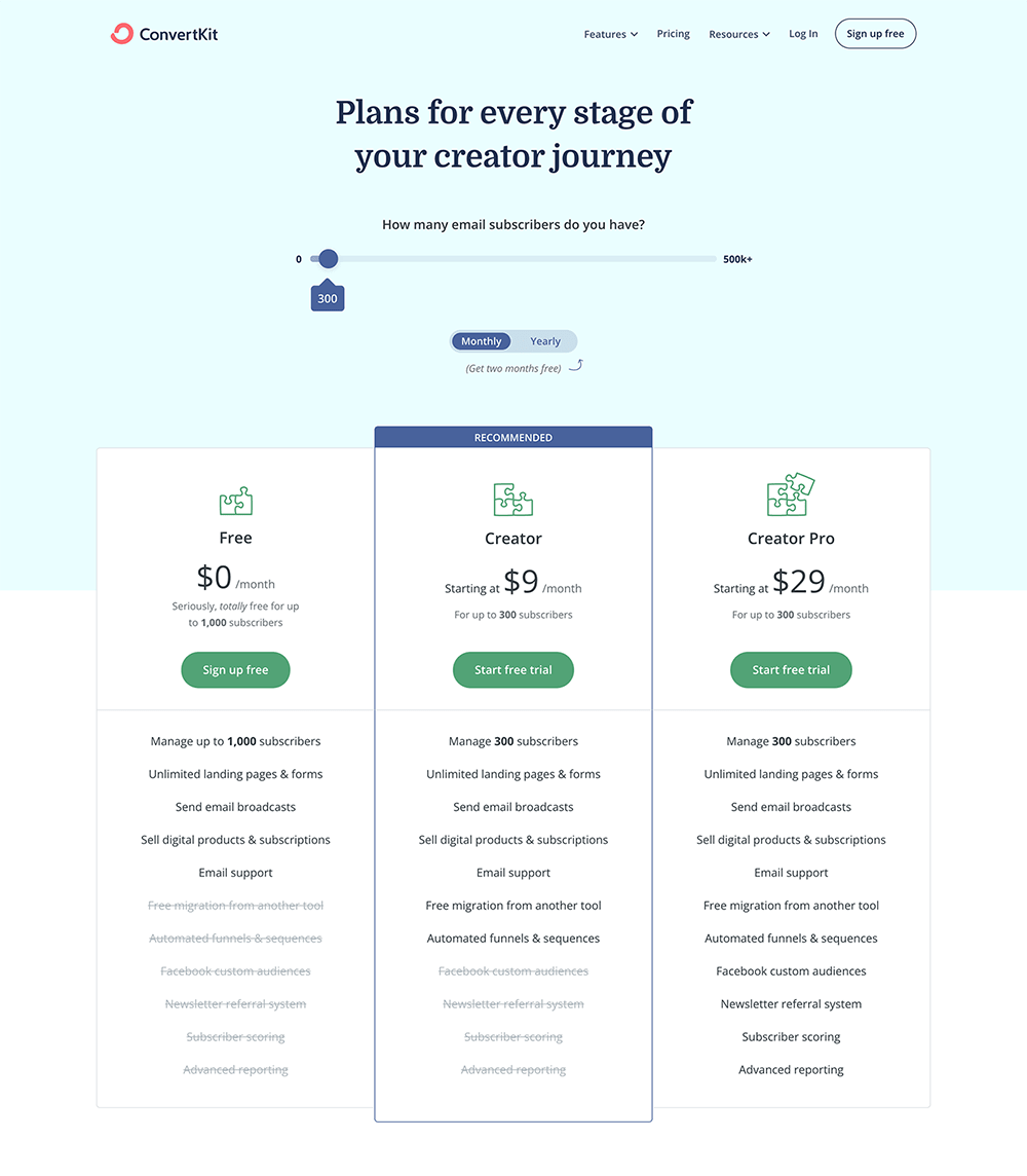 ConvertKit upselling on pricing page