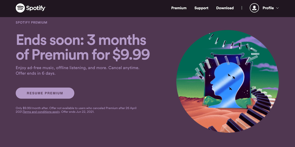 Upselling Examples: Spotify