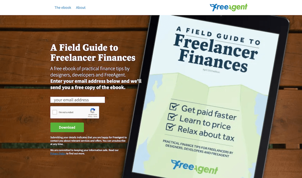 Ebook Landing Page Examples: FreeAgent