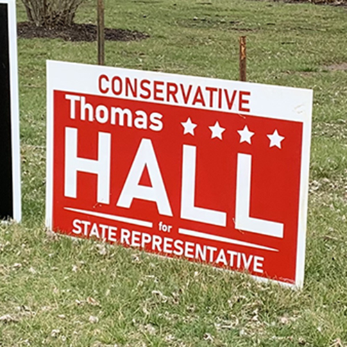 Signs from the Butler County Progressive Political Action Committee.