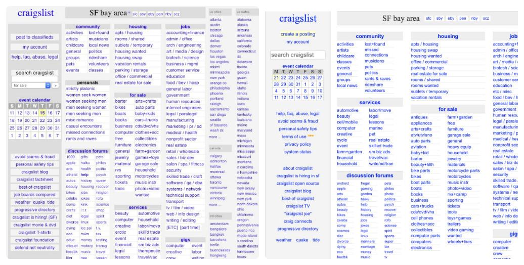 Craigslist thay đổi thiết kế giao diện web trong 10 năm như thế nào