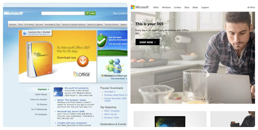 Microsoft thay đổi thiết kế giao diện web trong 10 năm như thế nào