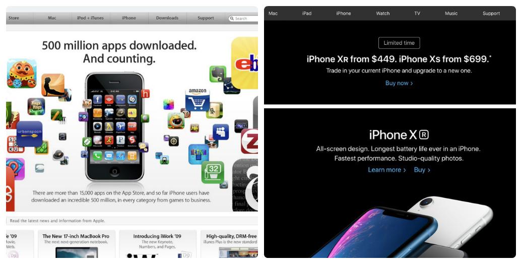 Apple thay đổi thiết kế giao diện web trong 10 năm như thế nào