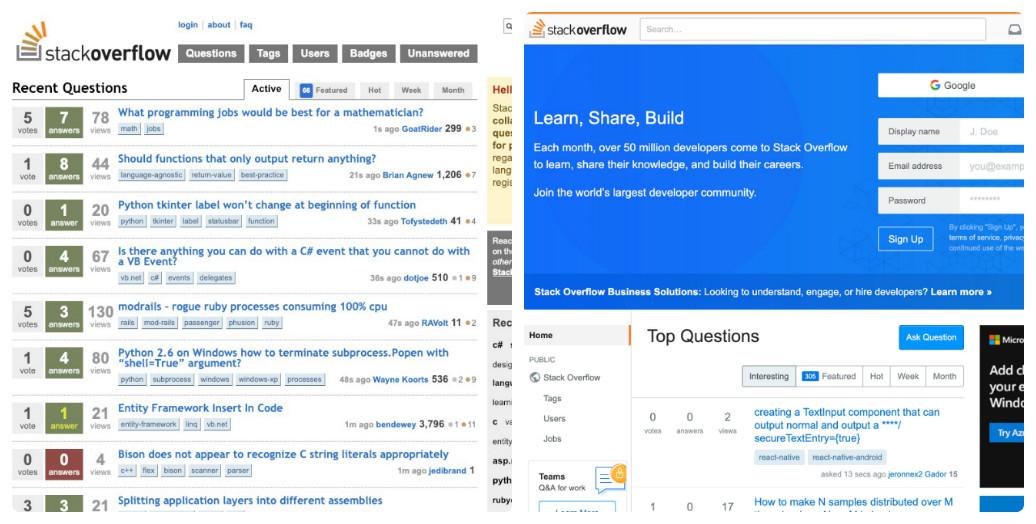 Stack Overflow thay đổi thiết kế giao diện web trong 10 năm như thế nào