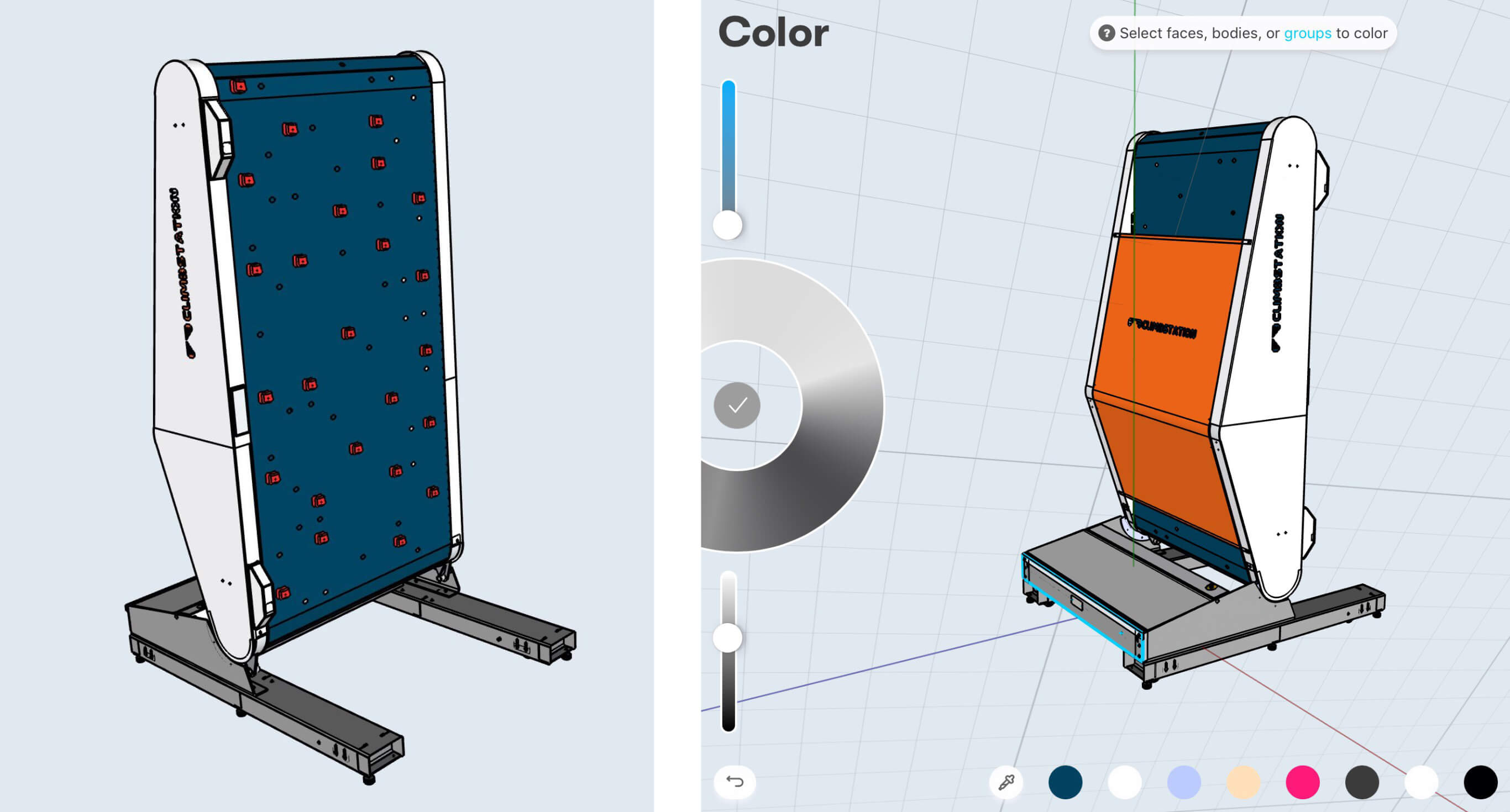 climbstation back and front in 3d
