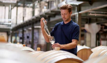 man testing wine at alcohol company