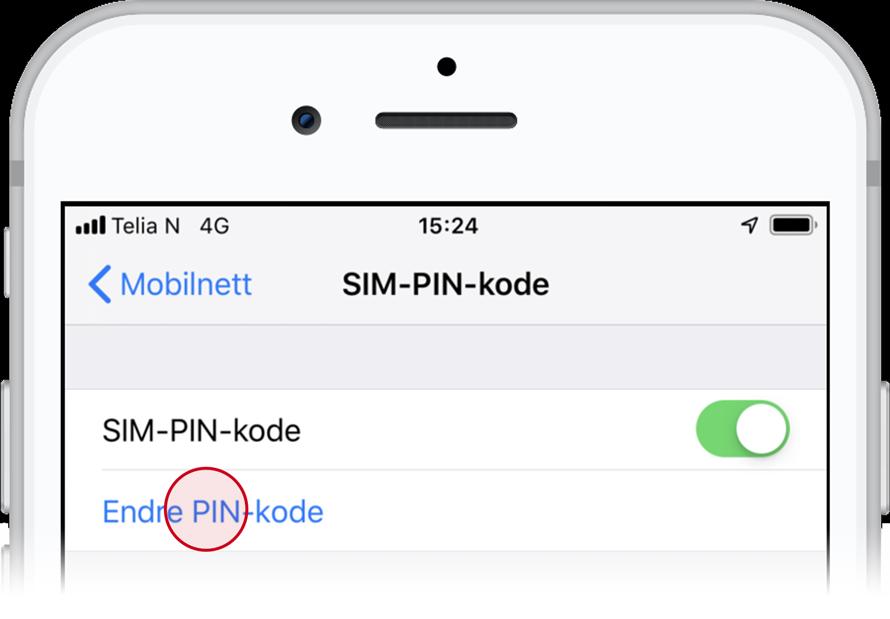 endre sim kode iphone