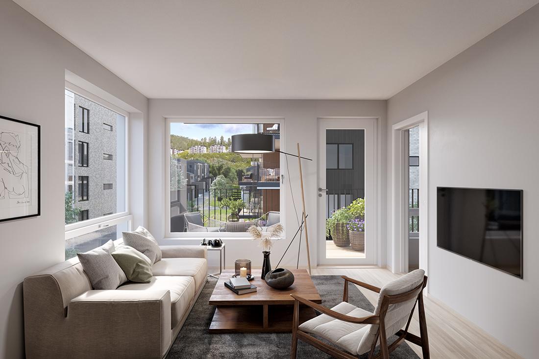 Stue: Produksjon av 3d bilder for noe boligprosjekter på vegne av Sem og Johnsen
