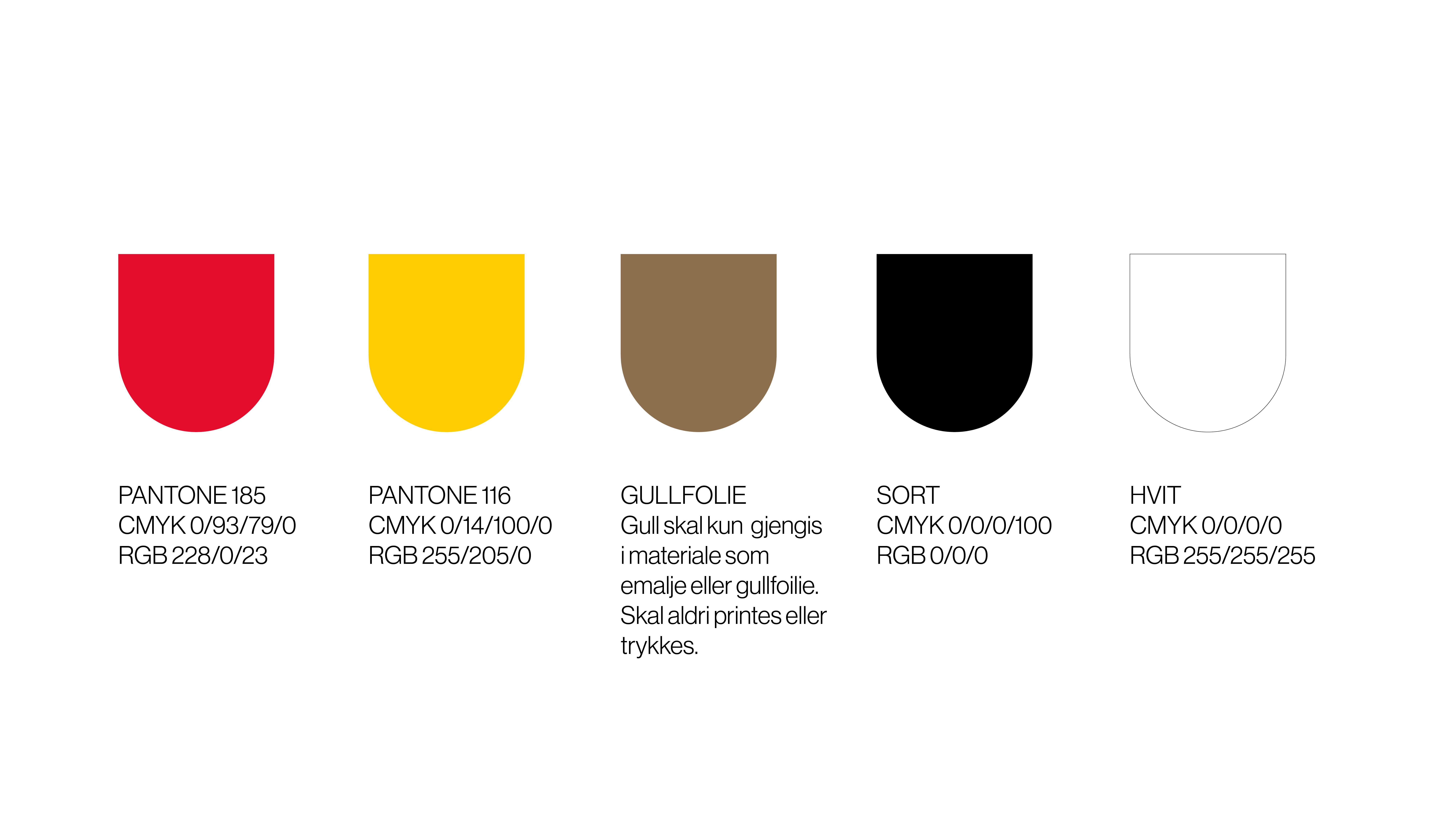 Fargene i det nye fylkesvåpenet for Vestfold og Telemark er rødt og gull, eller gult.