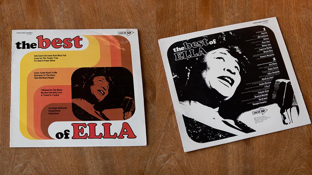 Cocktailmeny utformet som LP cover