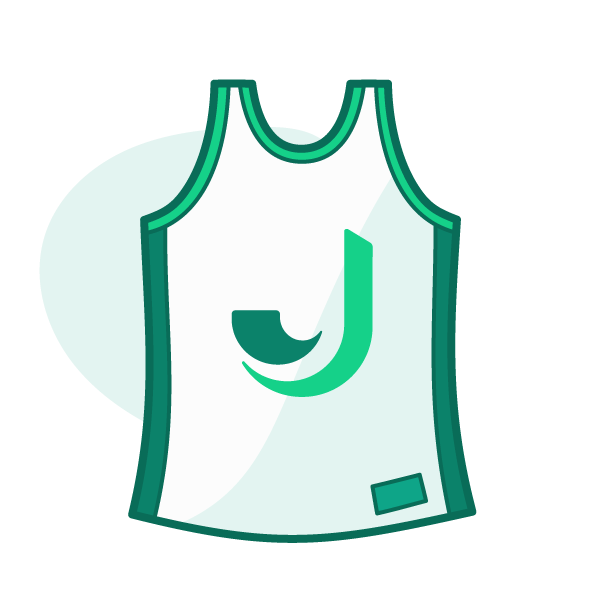 illustration of a sports jersey with a J on it