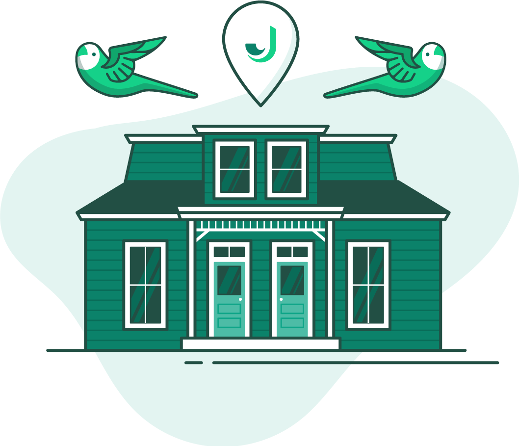 illustration of a green house with two birds flying above it and a location pin with a J on it